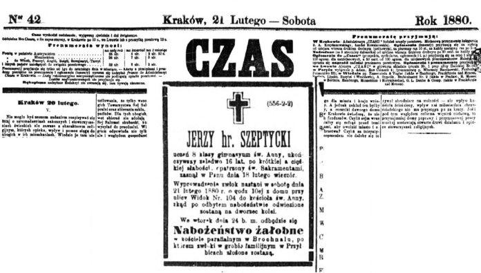 Повідомлення-некролог у газеті «Czas» про смерть найстаршого сина у родині Шептицьких.