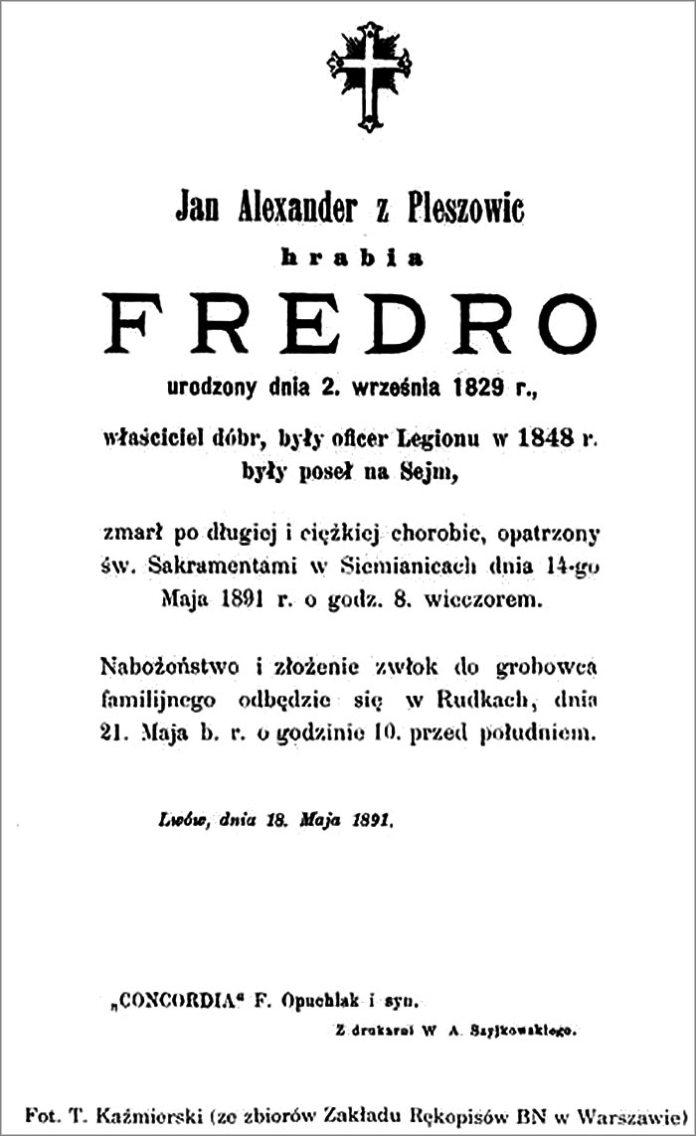Некролог, в якому повідомлялось про смерть Александра графа Фредро.
