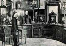 Мирослав Січинський перед судом, малюнок із краківського часопису Nowoѕ'ci Illustrowane від 4 липня 1908 року