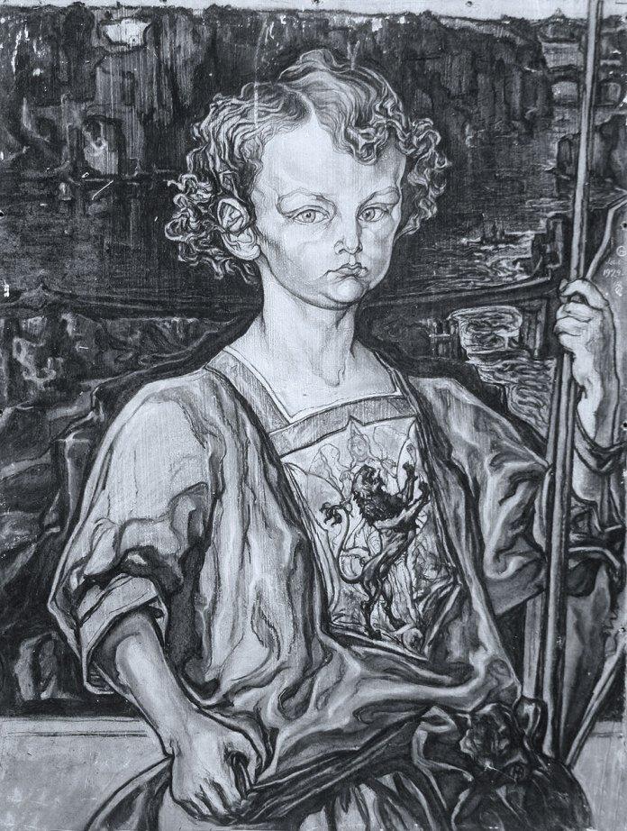 Новаківський Олекса. Син художника Ярослав – юний княжич. Фанера, левкас, вугіль. 1924.