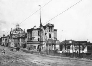 рамвайна лінія біля зруйнованого залізничного вокзалу Чернівців. 1918 р.