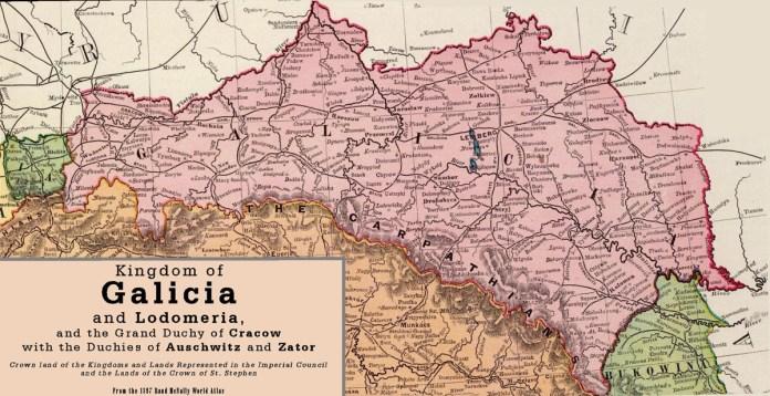 Карта Галичини із позначенням залізниць, які діяли на 1897 р.