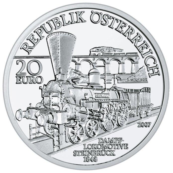 Поїзд Південної залізниці на монеті 20 євро
