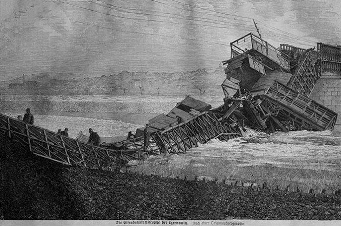 Руйнування залізничного мосту конструкції Шліфкорна 1868 р.