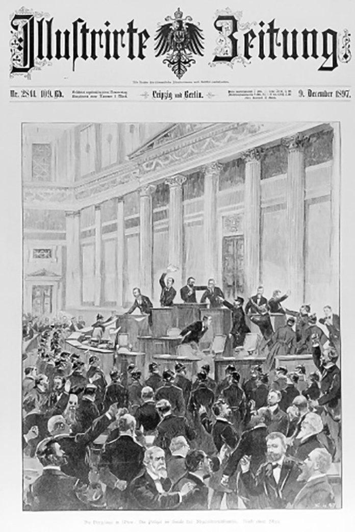 У віденському парламенті – перша шпальта Leipziger Illustrierte Zeitung за 9-те грудня 1897 року