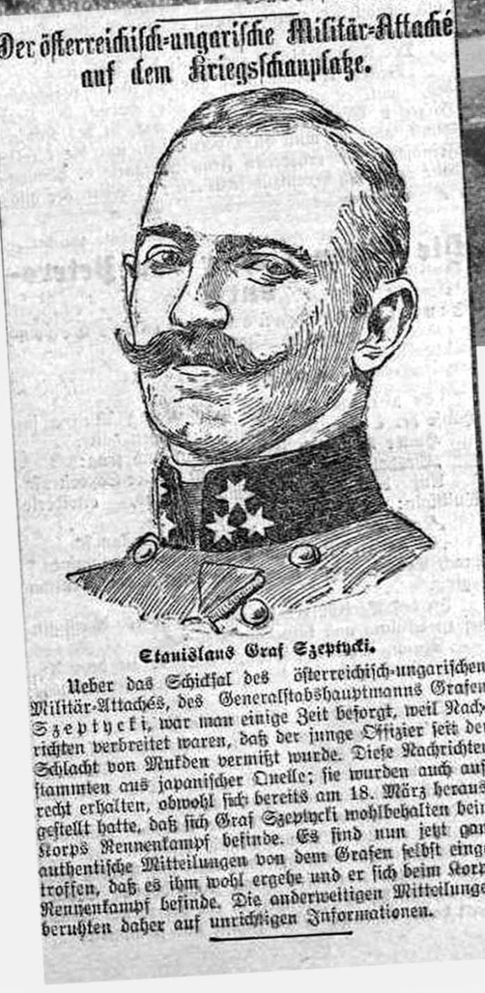 Повідомлення у німецькомовній газеті «Österreichische Kronen Zeitung» за 25 квітня 1905 р. про ситуацію на японсько-російському фронті, ілюстроване портретом Станіслава графа Шептицького