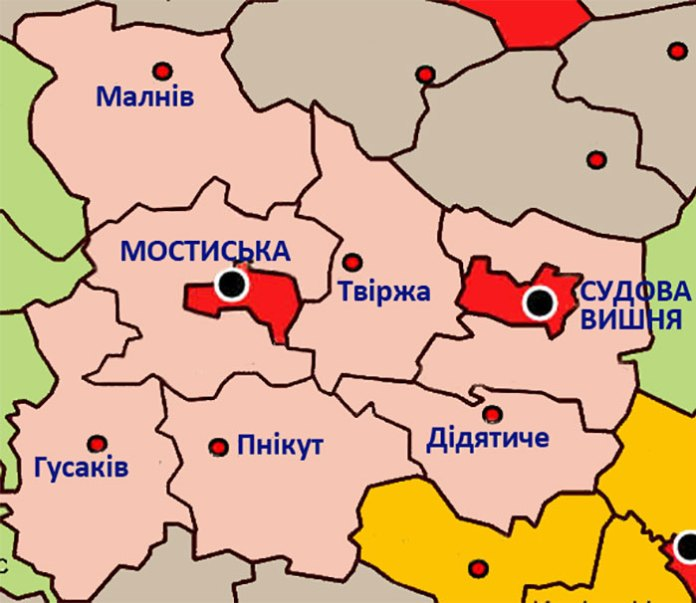 Мапа Мостиського повіту