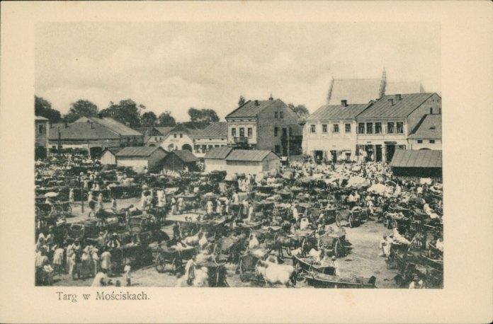 Торговиця в Мостиськах, поштівка 1906 року