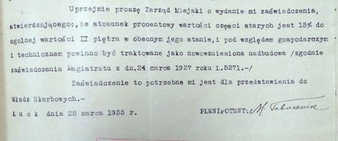 Прохання Мойсея Табачника, уповноваженого Марка Кронштейна від 28 березня 1935 р. визнати будинок новим