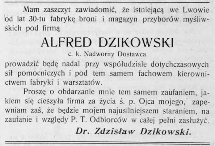 Оголошення доктора Здіслава Дзіковського, сина Альфреда Дзіковського.