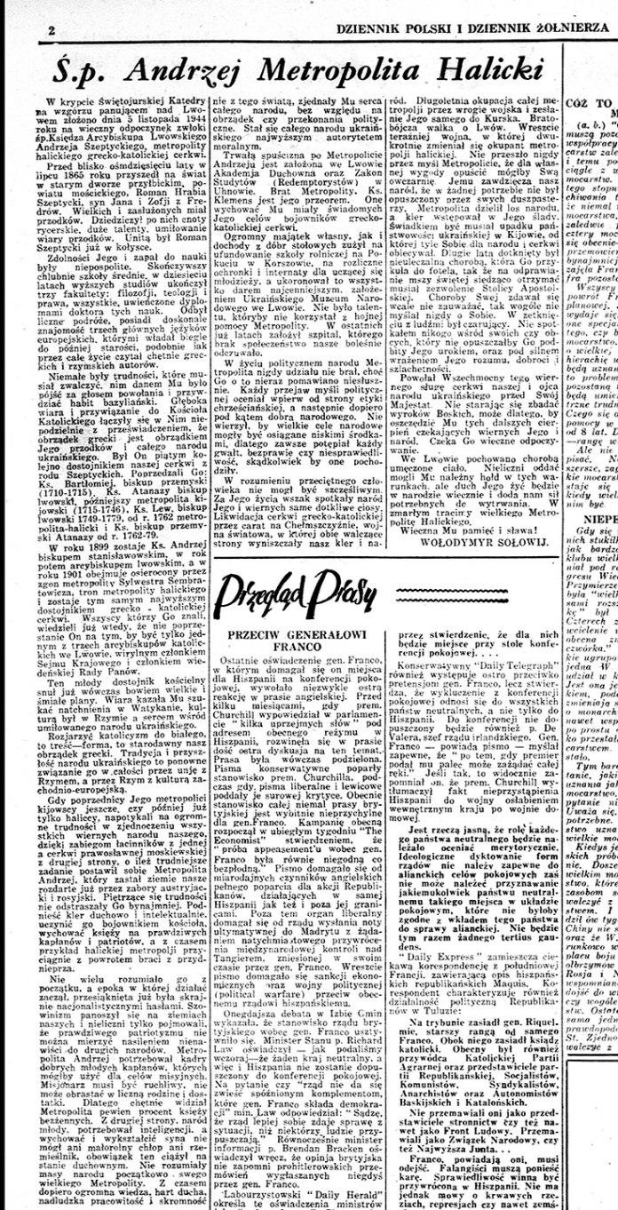 Посмертна стаття про Митрополита Андрея Шептицького авторства Володимира Соловія у польськомовній газеті «Dziennik Polski i Dziennik Żołnierza», опублікована 17 листопада 1944 року