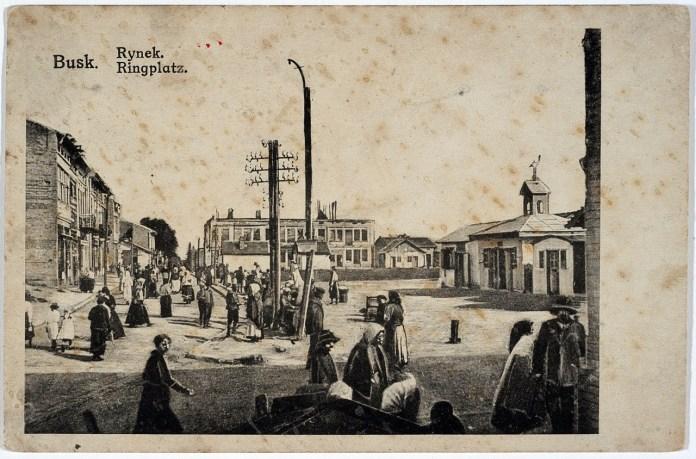 Буськ. Площа Ринок. Поштівка 1917 р.