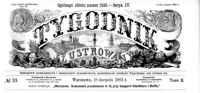 """Tugodnik ilustrowany"" № 33 за 1883 р."