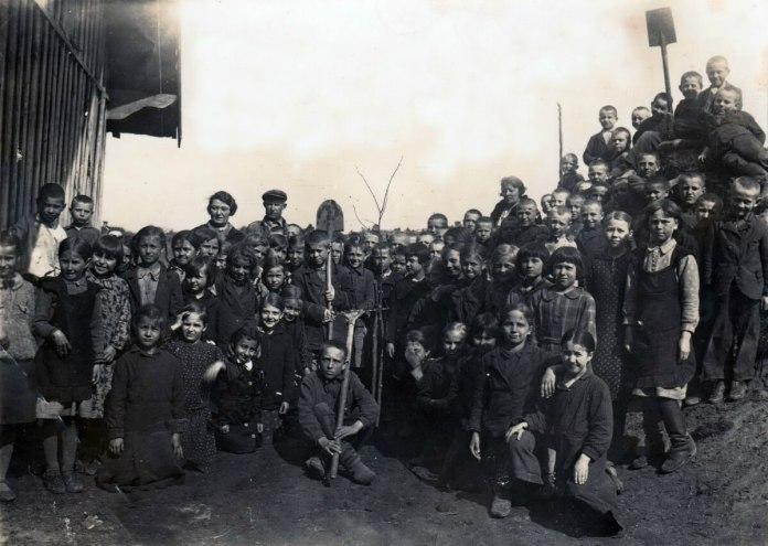 1938 р. Діти висаджують біля школи липу