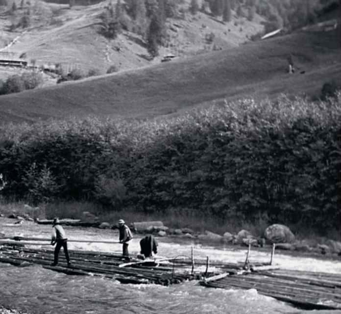 Плотогони сплавляють деревину Чорним Черемошем. Гірські річки у верхів'ях мілкі, тож у невеликих загатах накопичували воду, яку спускали в певний час разом з плотами-дарабами. Дороті Госмер разом зі своїм велосипедом теж випробувала цей небезпечний вид річкового транспорту. Професія лісосплавника відмерла у Карпатах наприкінці 1970-х рр.Фото: Дороті Госмер
