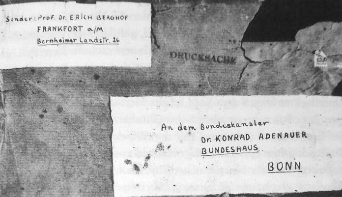 Адреса на пакунку, тут і далі усі зображення з книги Attentat auf Adenauer, Henning Sietz, якщо не вказано інше