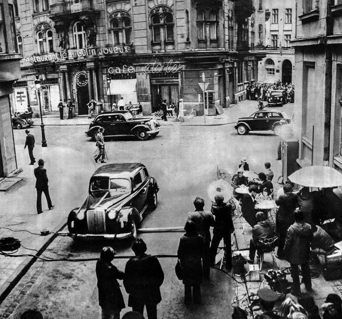 Зйомки нового фільму в центрі Львова. Фото 1980-их років