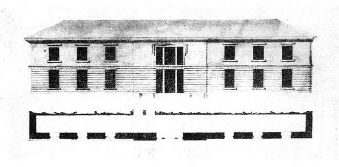 """Проект корпусу близько 1830 року.. Малюнок з видання Т. Ярошевського і А. Роттермунда """"Невідомі матеріали до Александрії і Шпанова"""""""
