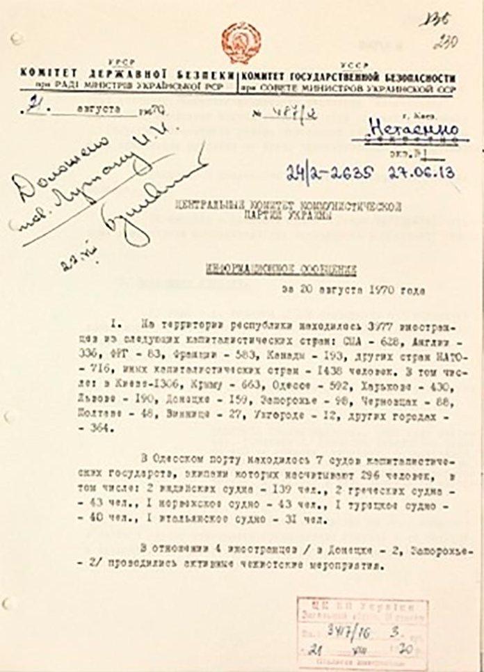 Приклад щоденного звітування КДБ про кількість іноземних туристів в УРСР, 21 серпня 1970 (ГДА СБУ)