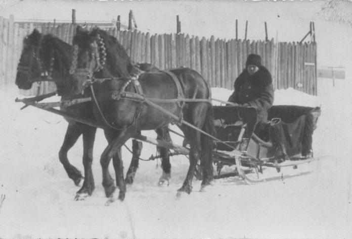 Фото з родинного архіву Дзіваків. Візник ПавлоОстапчук. Рівне, 1930-і рр.