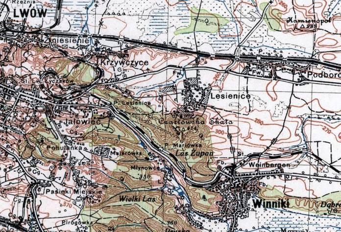 Залізнична колія Львів-Підгайці на польській карті 1925 р. Масштаб 1:100 000