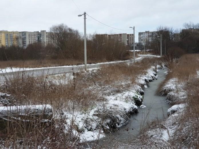 Білогірський потік за Львовом. Левандівка на горизонті. Вода тут майже стояча. Потім це все впадає в річку Зимна Вода і далі в Дністер (за спиною)
