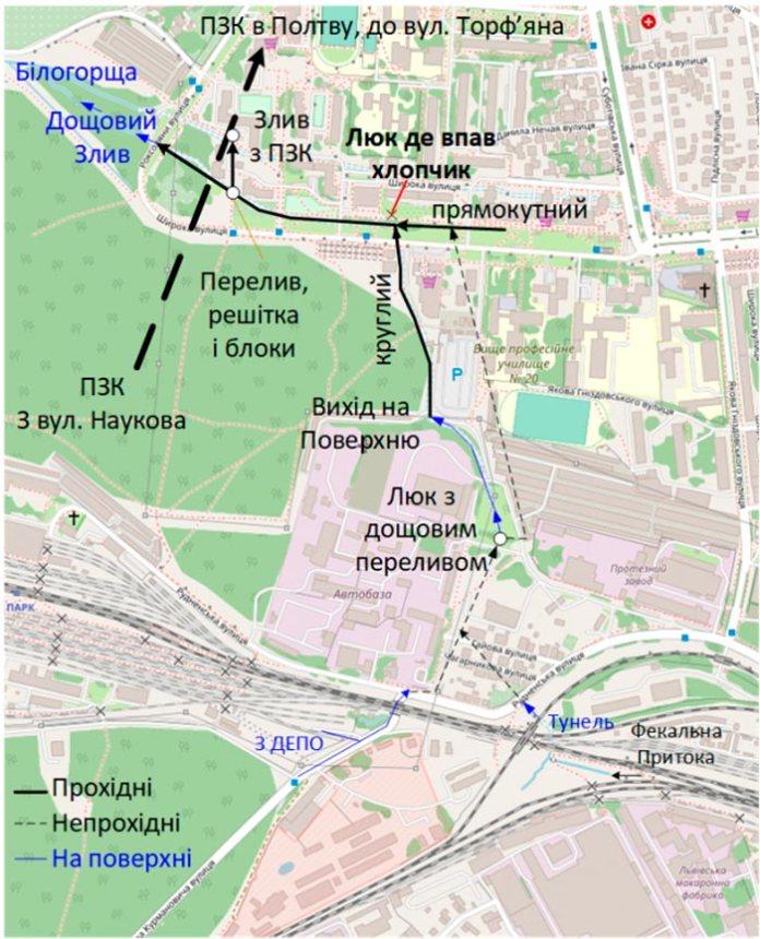 Ось карта всієї системи під Левандівкою. Штрих пунктиром позначені ділянки де ми щойно пройшли. Синім позначені ті ділянки, що є на поверхні. На карті також були оригінальні позначення відкритих кусків річки. Я все це звів в одне ціле. Ці тунелі проходять під зеленими зонами.