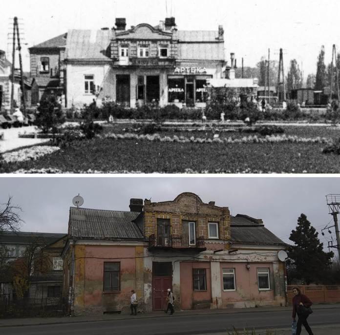 Будинок, в якому була аптека поруч із колишнім сквером Понятовського. Скверу давно немає, а будинок зберігся