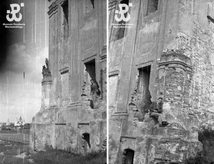 Єжи Карпіньскі на руїнах палацу, 1939 рік
