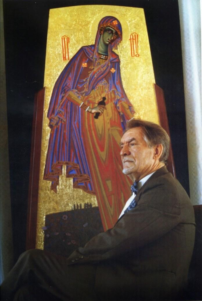 Микола Бідняк біля своєї ікони Чорнобильська Мадонна. 1994 р.