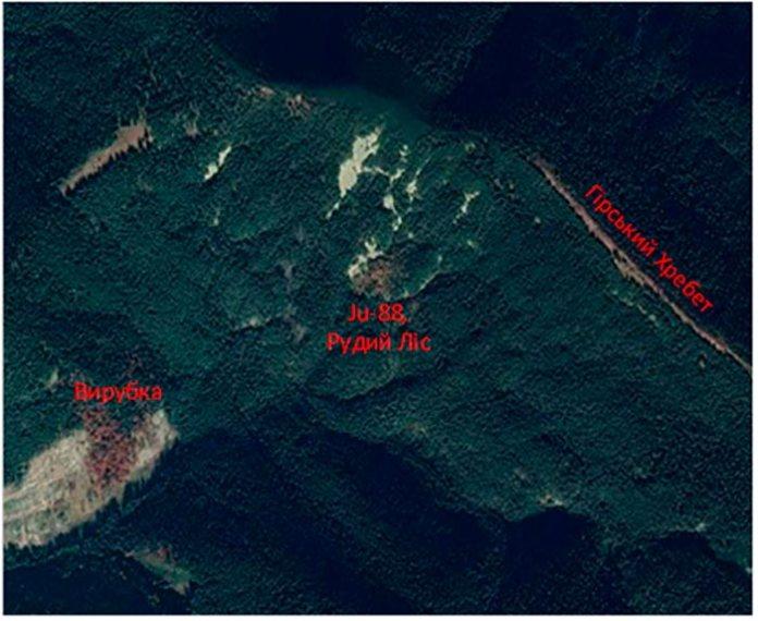 Місце падіння літака та «рудий ліс», фото з Google maps