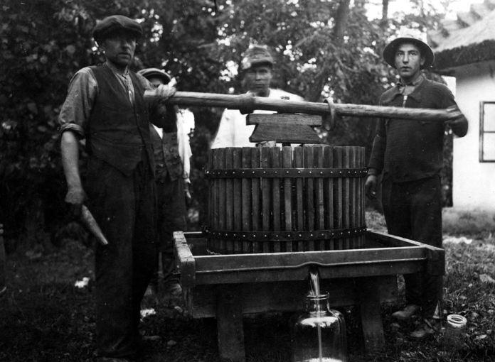Чавлять вино чи виноградний сік в Заліщиках,1938 рік.