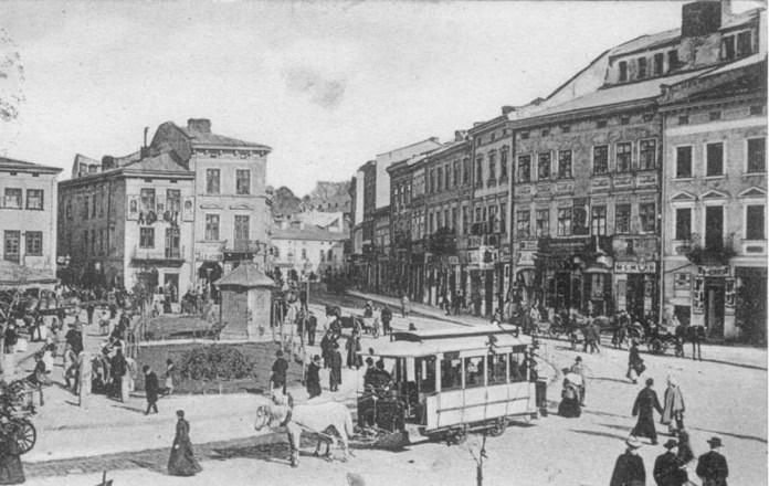 Кінний трамвай на вулицях Львова. Стара листівка