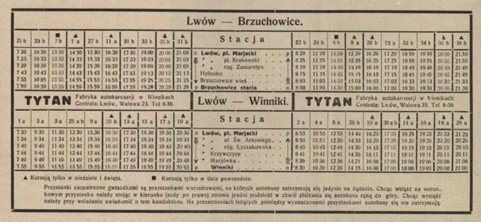 Розклад руху автобусів між Львовом і Брюховичами та Винниками, 1930-ті рр..