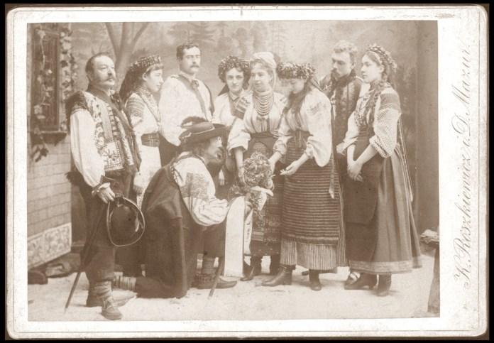 Актори в гуцульському одязі, 1885 р.