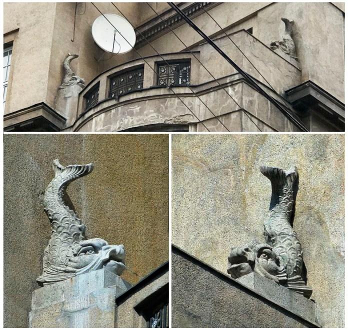 Дельфіни на балконі будинку по вул. Коперника, 4 у Львові