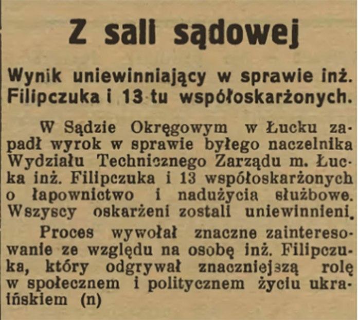 Повідомлення в газеті Wołyń за 22 березня 1936, що Пилипчука суд визнав невинним