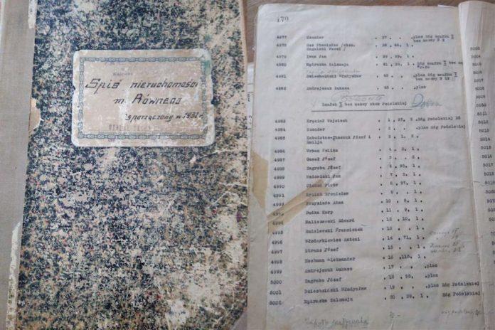 Книга списків власників нерухомості в Рівному в 1931 році. Перелік власників на вулиці Підкова (з фондів ДАРО)