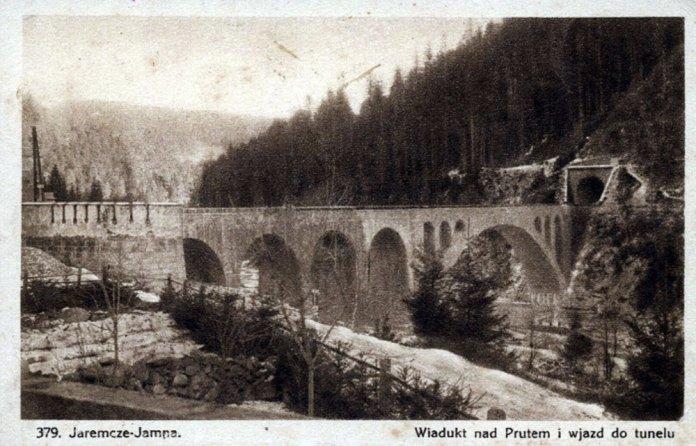 Міст-віадук над Прутом в Ямній і в'їзд до тунелю. Стара поштова листівка кінця 1920-х років