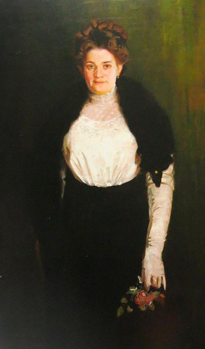 Осип Курилас. Портрет дружини з трояндою.