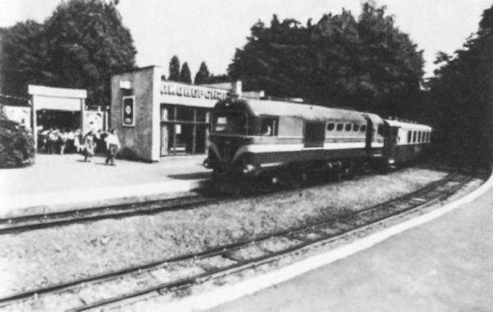Станція «Піонерська» дитячої залізниці у Львові. Фото 1980-х років
