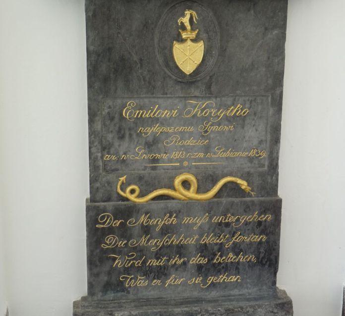 Надгробок Еміля Коритка на цвинтарі у Любляні. Фото з https://uk.wikipedia.org/