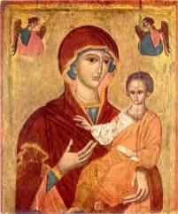 Ікона Богородиці Одигітрії з церкви святої Параскеви в селі Красів Миколаївського району Львівської області