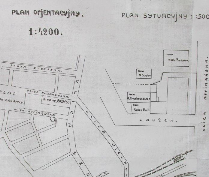Орієнтаційний план розташування броварні на розі Шосової-Новаковської