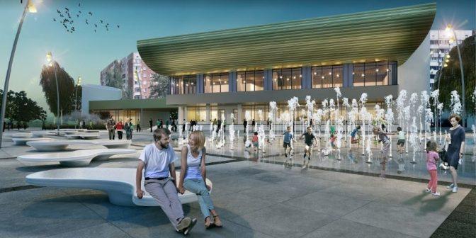 Візуалізація фонтану на площі перед Центром Довженка на Сихові