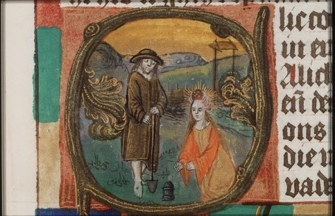 "Masters of the Dark Eyes (illuminator). ""Christ appears to St. Mary Magdalene as a gardener"" (1490) Національна бібліотека Нідерландів, Гаага. Джерело: manuscripts.kb.nl"
