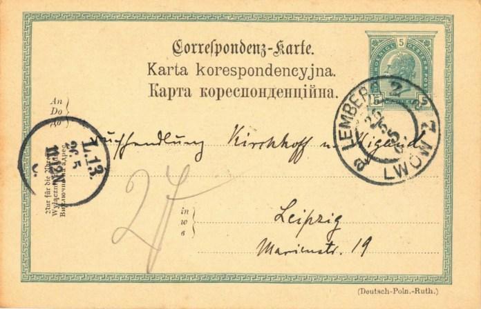 Львіська поштівка на трьох мовах. Джерело: ahnenforschung-grohn.de