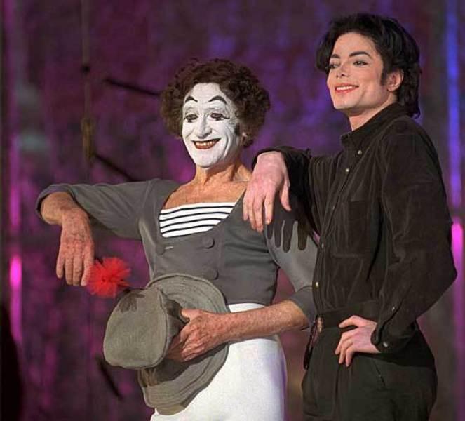 Марсель Марсо і Майкл Джексон. Фото з http://www.tributes.com/