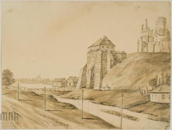 Острог. Унікальний малюнок з фрагментом Замкової гори