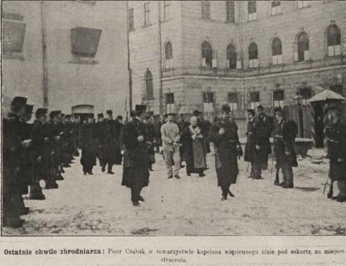 Петро Чабак у супроводі капелана йде на страту, Nowości Illustrowane, 1909 рік